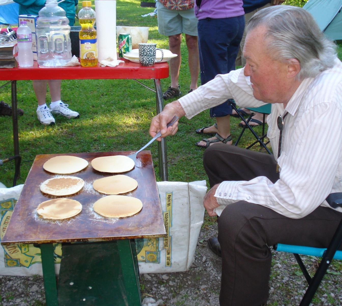 Harlan's 40-year-old pancake grill.